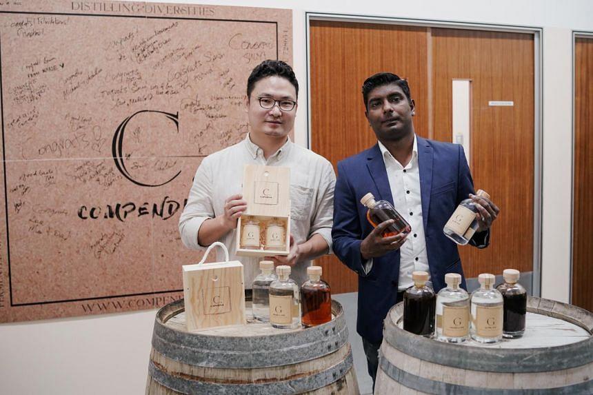 Compendium founder and master distiller Simon Zhao, and brand ambassador Vegneswaran Ram at their distillery in Mandai.