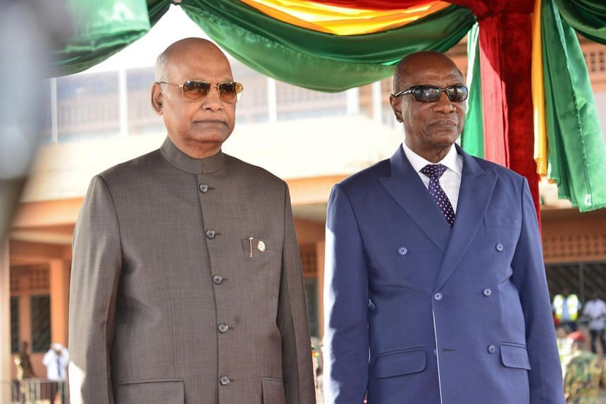 Indian President Ramnath Kovind (left) with Guinean President Alpha Conde during a tour of Benin, Gambia and Guinea.