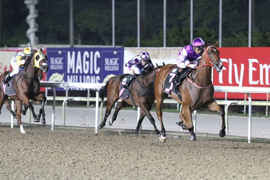 Super Smart kicking clear of the rest in last night's Class 4 Div 1 race over the Polytrack 1,200m for his third success in eight starts.