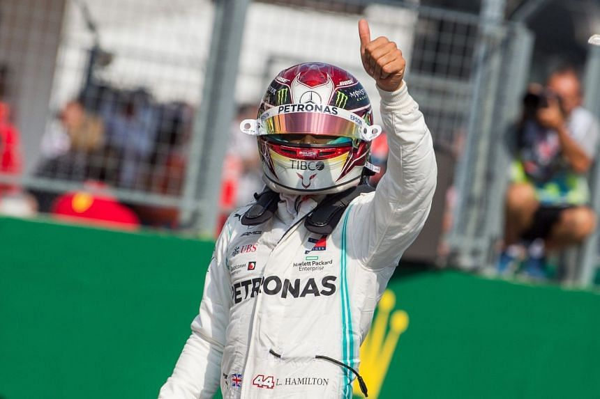 Hamilton  reacts after the qualification session.