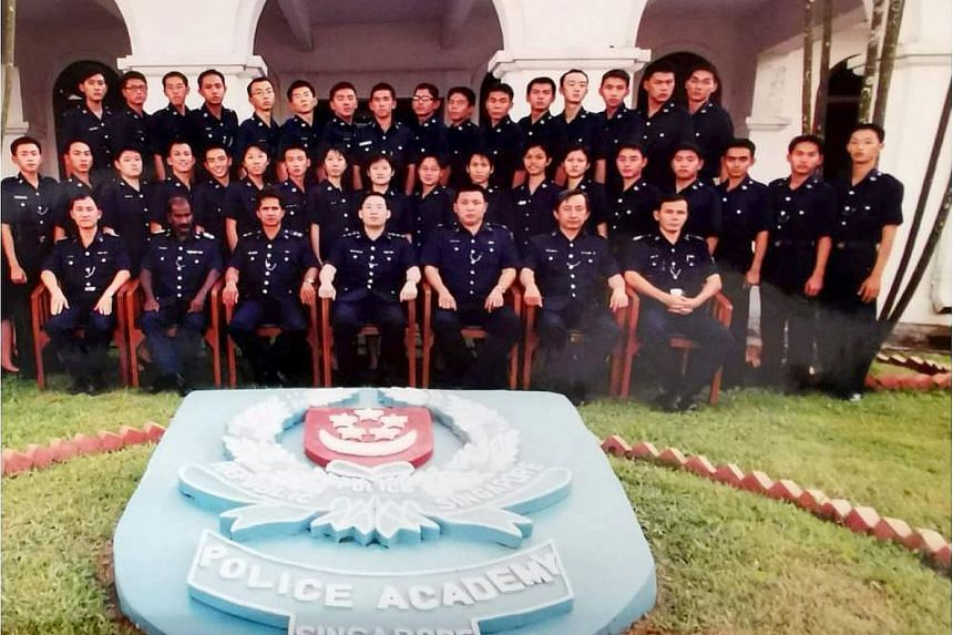 Above: Mr Patrick Chee set up online platform HDB Seller earlier this year to help homeowners sell their HDB homes for a flat fee. Left: Mr Chee (second row, second from right) in a group photo during his time with the Singapore Police Force.