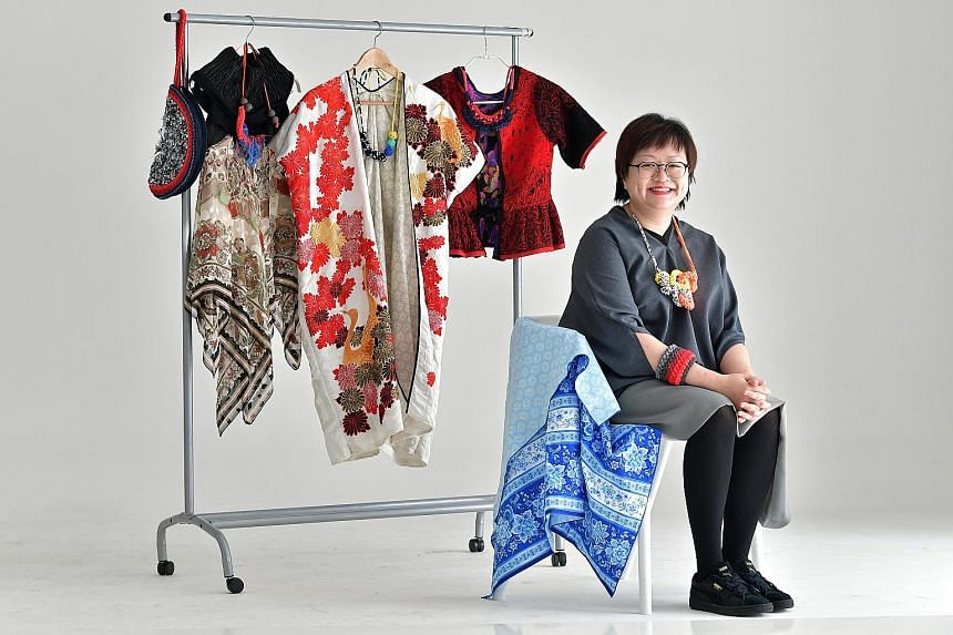 Fashion label Mutawear founder Adel Ng (above) recycles fabrics, yarns and vintage pieces, making them into accessories and clothes. Photographer Ernest Goh's (above) Shore Debris Table installation features debris (below) he collected from Punggol b