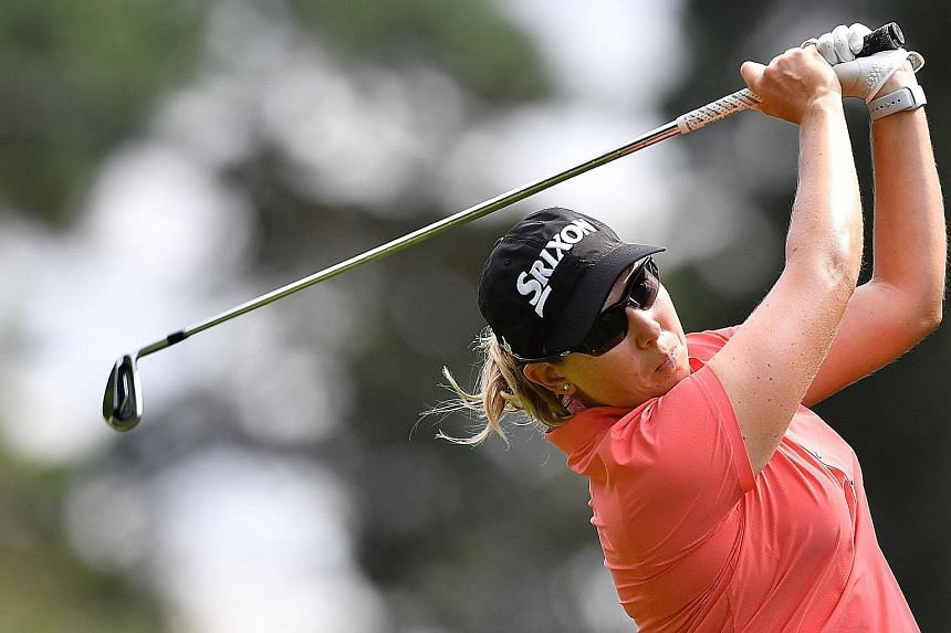 South Africa's Ashleigh Buhai hitting a tee shot on the second day of the Women's British Open golf championship at Woburn.