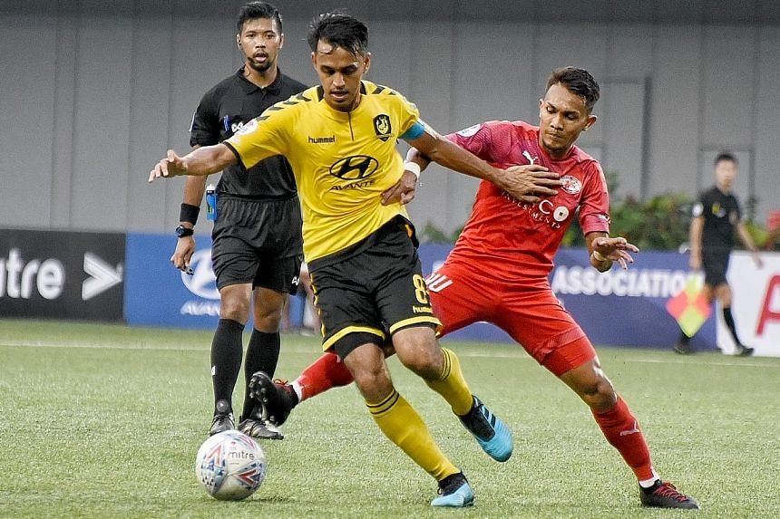 Tampines Rovers captain Shahdan Sulaiman (in yellow) is Man-of-the-Match in their 3-0 win over Home United at Our Tampines Hub. He curled home a free kick in the 18th minute yesterday.