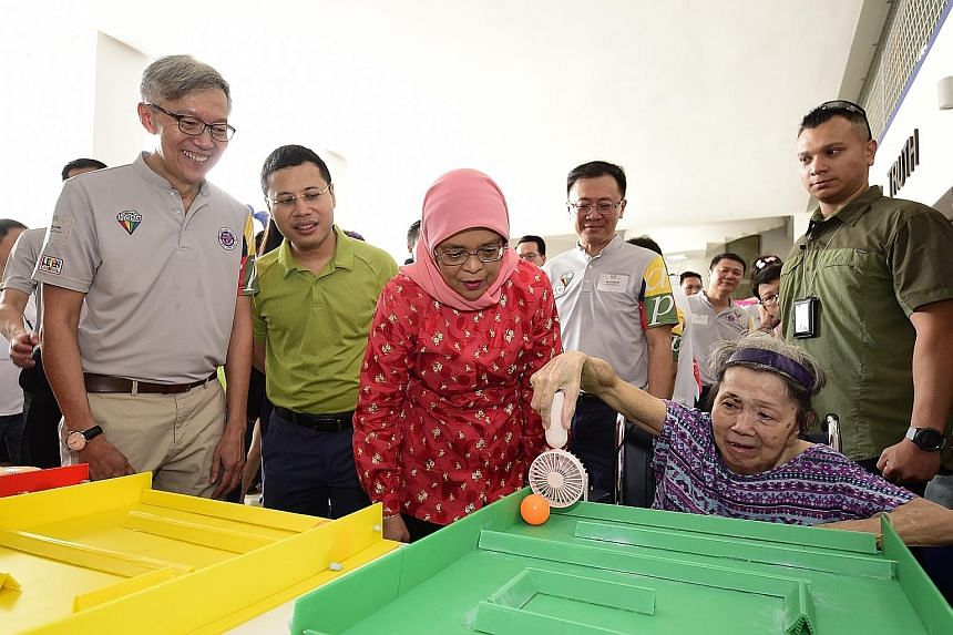 """President Halimah Yacob was the guest of honour at the third """"ARPC Let's Carnival"""" event held yesterday at Kuo Chuan Presbyterian Secondary School, in support of the President's Challenge and in response to a call to build a caring and inclusive soci"""