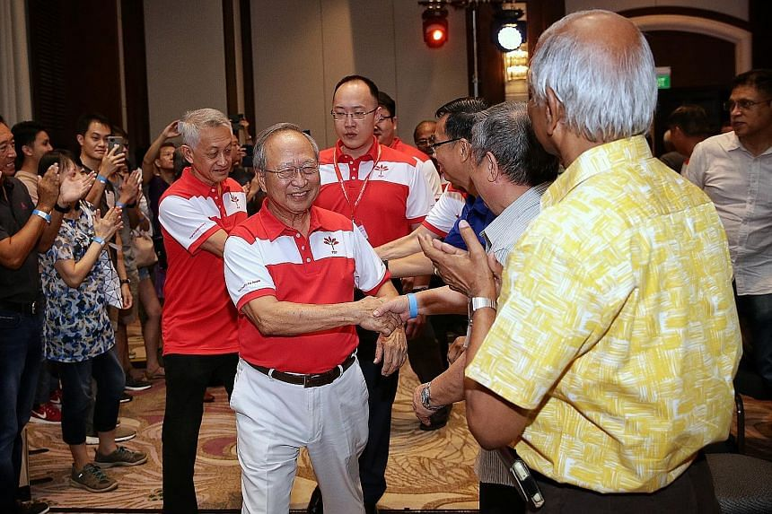 """Progress Singapore Party (PSP) secretary-general Tan Cheng Bock arriving for the party's official launch event at Swissotel Merchant Court yesterday, where he said he re-entered politics """"for country, for people""""."""