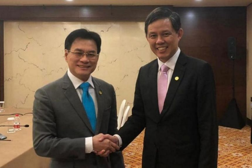 Trade and Industry Minister Chan Chun Sing with Thai Deputy Prime Minister and Minister of Commerce Jurin Laksanawisit on the sidelines of the Asean Economic Ministers Caucus Meeting on Aug 2, 2019.