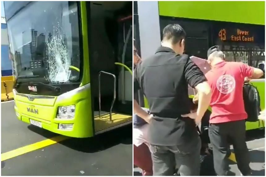 The bus driver was arrested after an accident involving a pedestrian that left a crack on the windshield, in Marine Parade on Aug 2, 2019.
