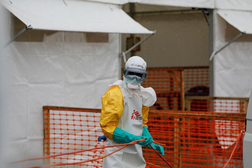 A health worker dressed in protective suit at the newly constructed MSF Ebola treatment centre in Goma Democratic Republic of Congo on Aug 3 2019