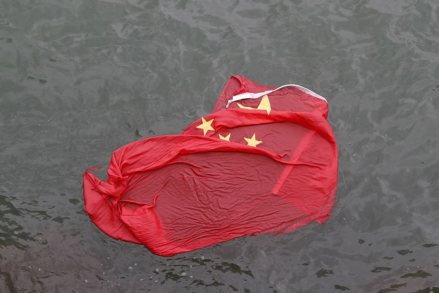 Chinese flag thrown in the water by protesters yesterday.