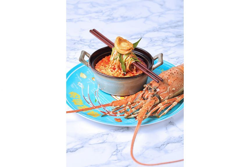 Furama RiverFront's laksa, which comes with either lobster or abalone, also includes noodles – emerald, wolfberry or sesame.