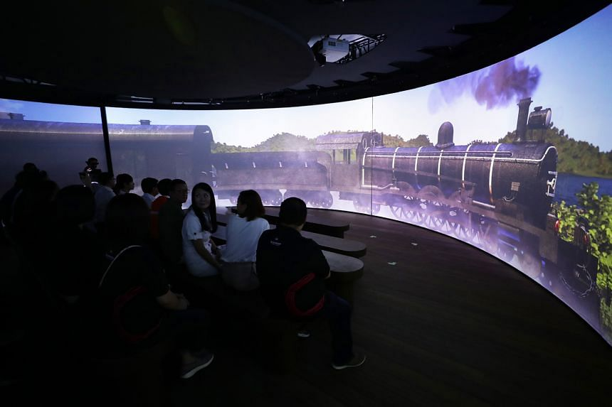 Spread over five acts and over two levels, the hour-long installation offers, among others, multimedia projections and a revolving platform.ut a climate change which brought about monsoons and a rise in port cities in the South-east Asian region.