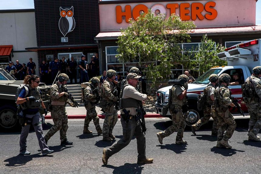 Law enforcement agencies respond to an active shooter in El Paso, Texas.