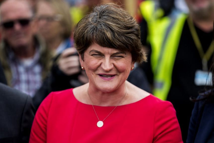 Democratic Unionist Party leader Arlene Foster speaking with the press following a meeting with British PM Boris Johnson, on July 31, 2019.