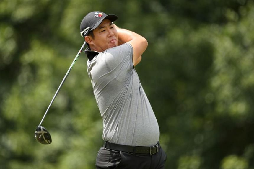 An Byeong-hun teeing off during the third round of the Wyndham Championship on Aug 3, 2019.
