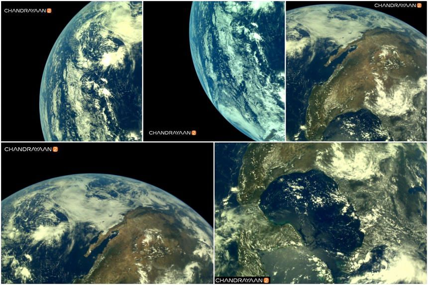 Pictures of the Earth taken from the Indian Space Research Organisation's Chandrayaan-2.