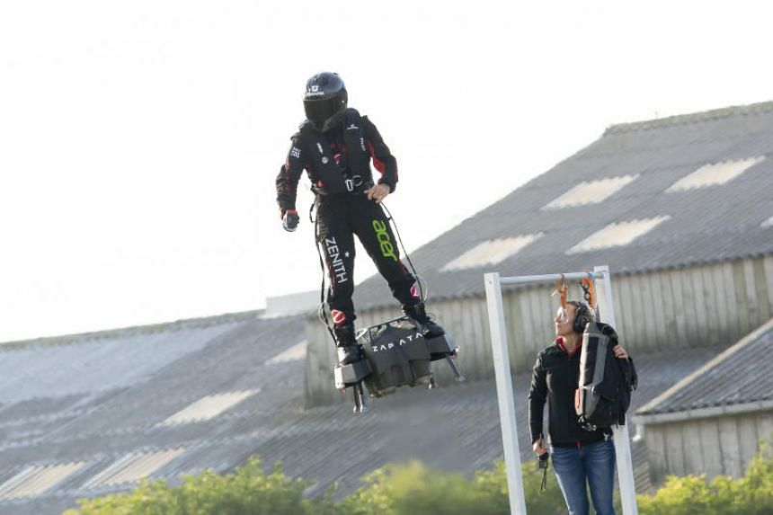 """""""Flyman"""" Franky Zapata beginning his crossing of the English Channel on a jet-powered flyboard he designed, from Sangatte, France, on Aug 4, 2019."""