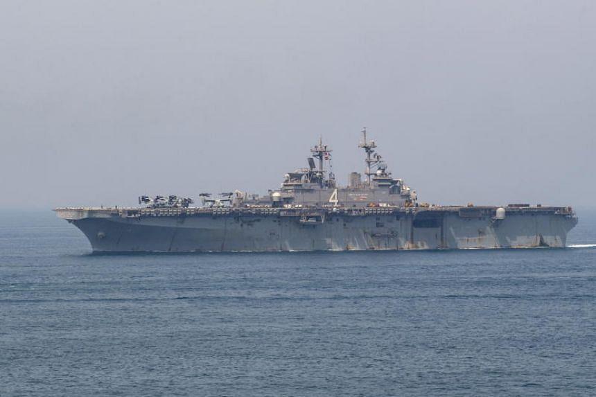 The amphibious assault ship USS Boxer is seen transiting the Arabian Gulf on July 24, 2019.