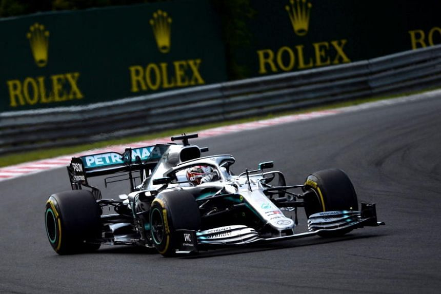 British Formula One driver Lewis Hamilton of Mercedes steers his car during the Hungarian Formula One Grand Prix at the Hungaroring circuit, in Mogyorod, Hungary, on Aug 4, 2019.