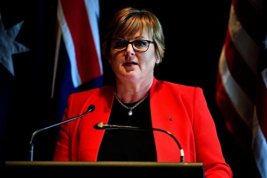 Australia Defence Minister Linda Reynolds speaking to the media in Sydney on Aug 4, 2019.