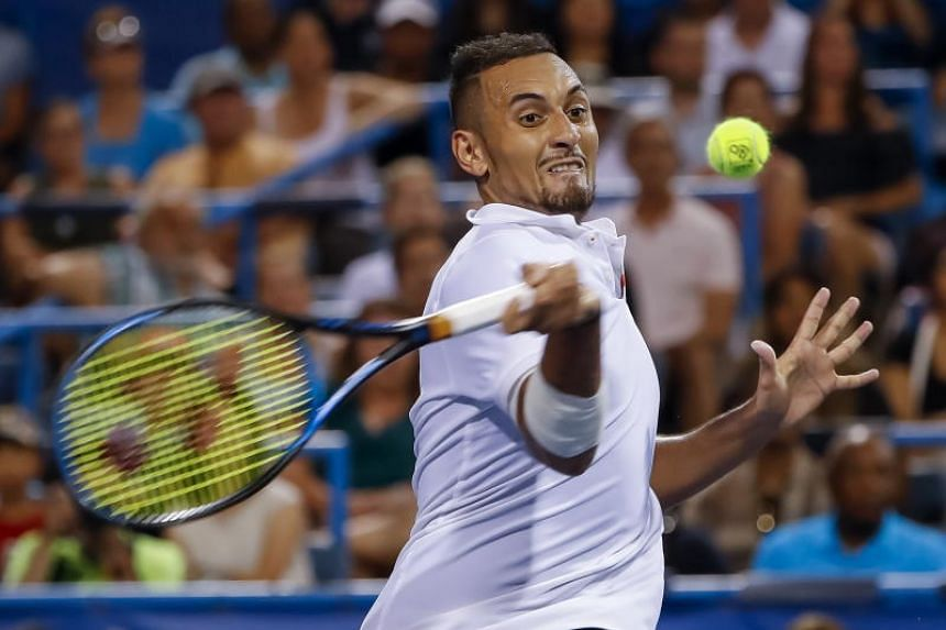 Nick Kyrgios hitting a shot against Stefanos Tsitsipas during their semifinal match at the Citi Open tournament on Aug 3, 2019.