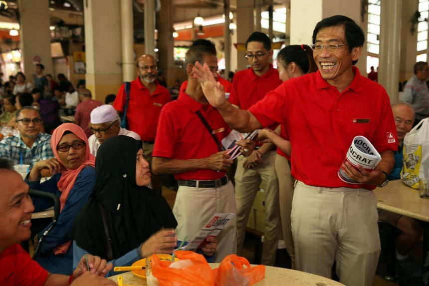 SDP secretary-general Chee Soon Juan doing a walkabout in Yuhua on Aug 4, 2019.