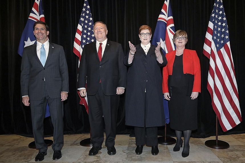 (From left) US Secretary of Defence Mark Esper and Secretary of State Mike Pompeo with Australian Foreign Minister Marise Payne and Defence Minister Linda Reynolds in Sydney yesterday.
