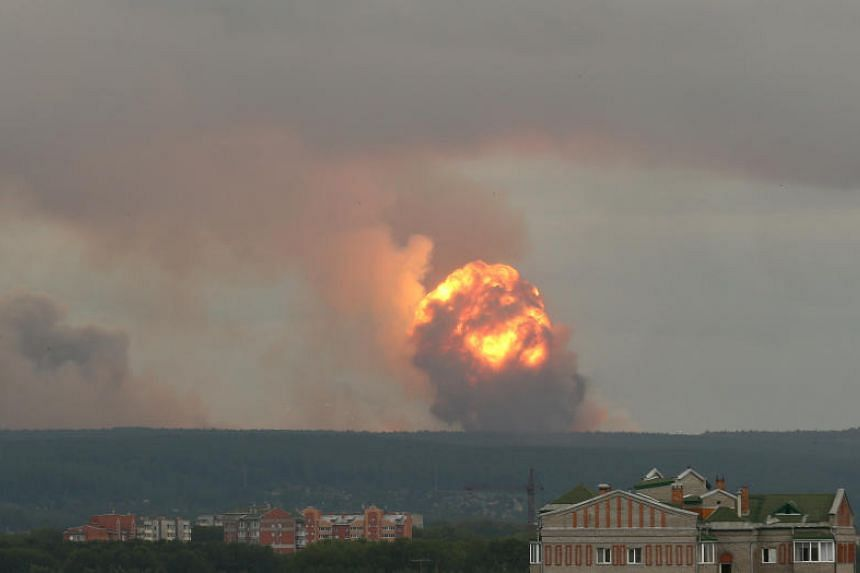 Photographs showed a huge explosion on the horizon with flames leaping into the sky followed by belching black smoke.