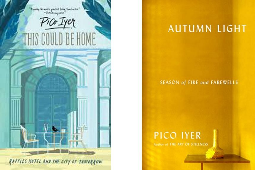 Pico Iyer and his new books - This Could Be Home (left), about Raffles Hotel, and Autumn Light (right), an intimate look at his neighbourhood near Nara in Japan.