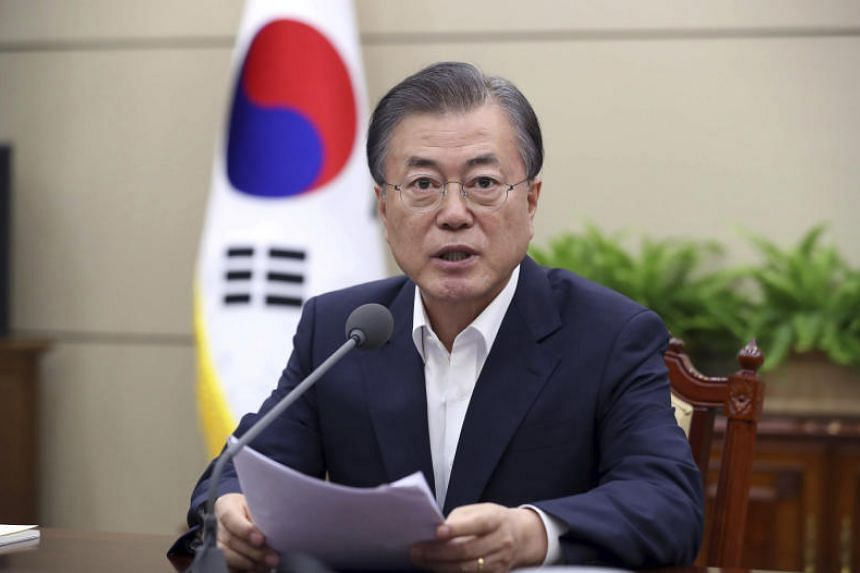 South Korean President Moon Jae-in lambasted Tokyo for expelling Seoul from a white list of trusted export destinations.