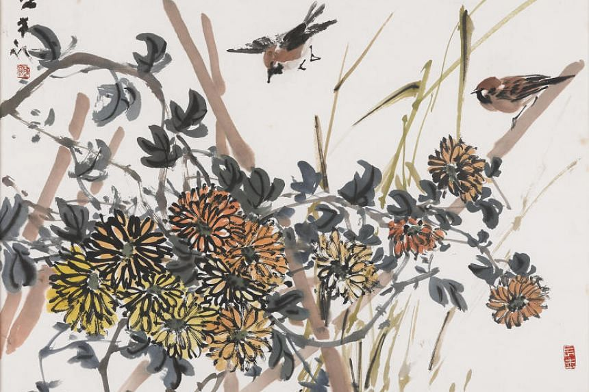 One of the works on display at The Private Museum is Chen's 1976 ink painting Sparrows, Chrysanthemums 1976.