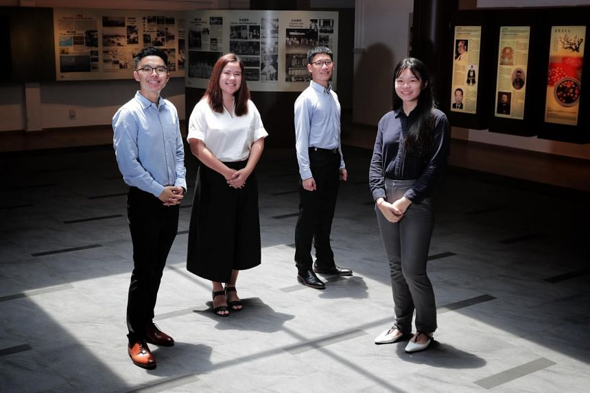 (From left) Ng Joong Hwee, Jazlin Tan Kaiqian, and Loy Wei Peng from Hwa Chong Institution, as well as Grace Chong Qiao Yi from Eunoia Junior College, clinched scholarships to study at China's prestigious Peking and Tsinghua universities.