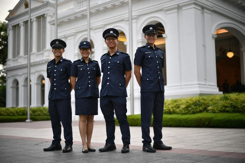 The Singapore Police Force Scholarship was awarded to (from left) Mr Yiik Chia and Ms Shermaine Ang from Hwa Chong Institution, and to Mr Warren Liow and Mr Justin Quek from Raffles Institution.