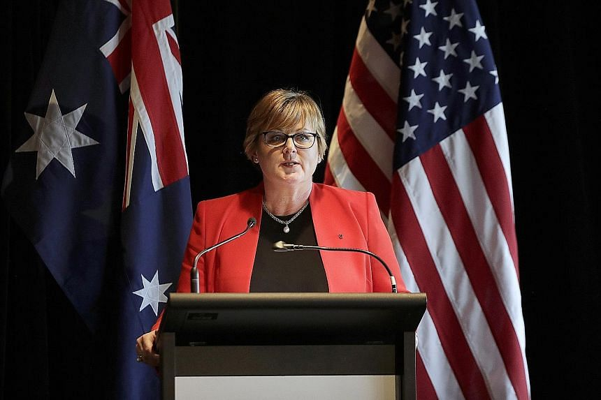 Australian Defence Minister Linda Reynolds briefing the media following annual bilateral talks with the United States in Sydney on Sunday. PHOTO: ASSOCIATED PRESS