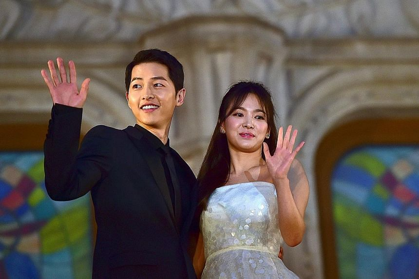 There has been a significant drop in demand for actor Song Joong-ki to endorse products after he announced his split from his wife Song Hye-kyo (both above) in June.