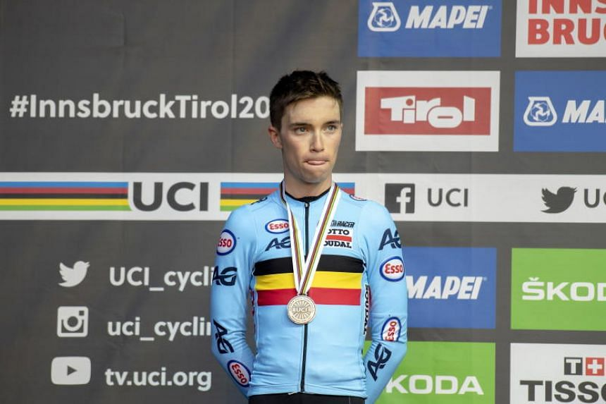 In this file photo from 2018, Bjorg Lambrecht takes the second place at the UCI Road Cycling World Championships in Innsbruck, Austria. Lambrecht collided with a concrete structure around 30 kilometres into the race after it suddenly began to rain.