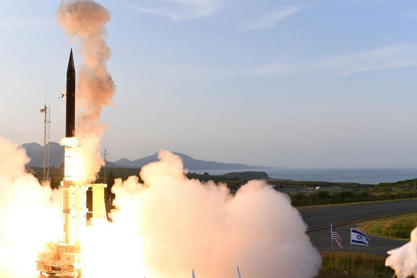 A file photo of the Arrow-3 hypersonic anti-ballistic missile launch at an undisclosed location in Alaska, as released by the Israeli Ministry of Defence on July 28, 2019.