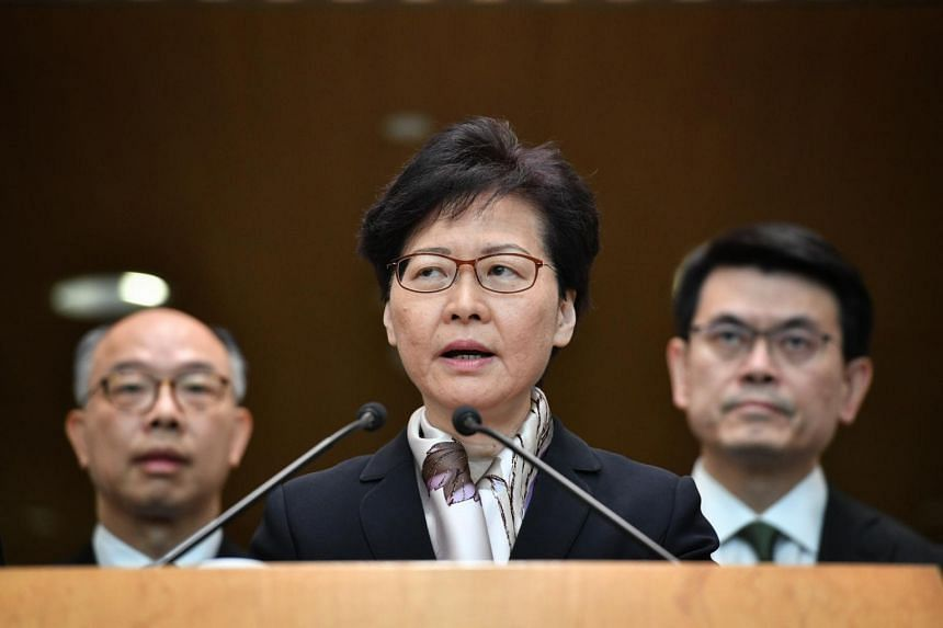 Hong Kong's Chief Executive Carrie Lam holds a press conference on Aug 5, 2019.