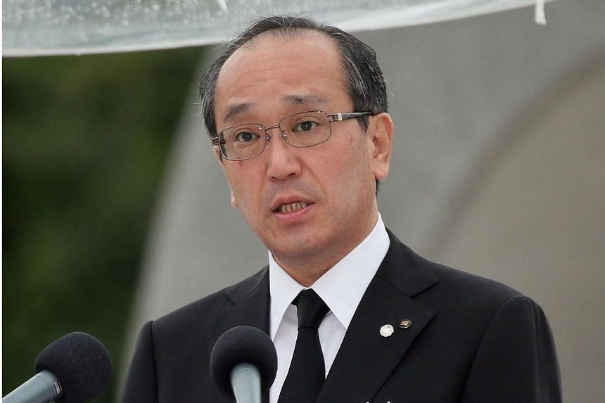 Hiroshima Mayor Kazumi Matsui delivers a speech during a ceremony for victims of the 1945 atomic bombing at Hiroshima Peace Memorial Park on Aug 6, 2019.