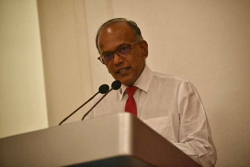 In this file photo taken on Aug 5, Law and Home Affairs Minister K. Shanmugam delivers a speech at the Istana.