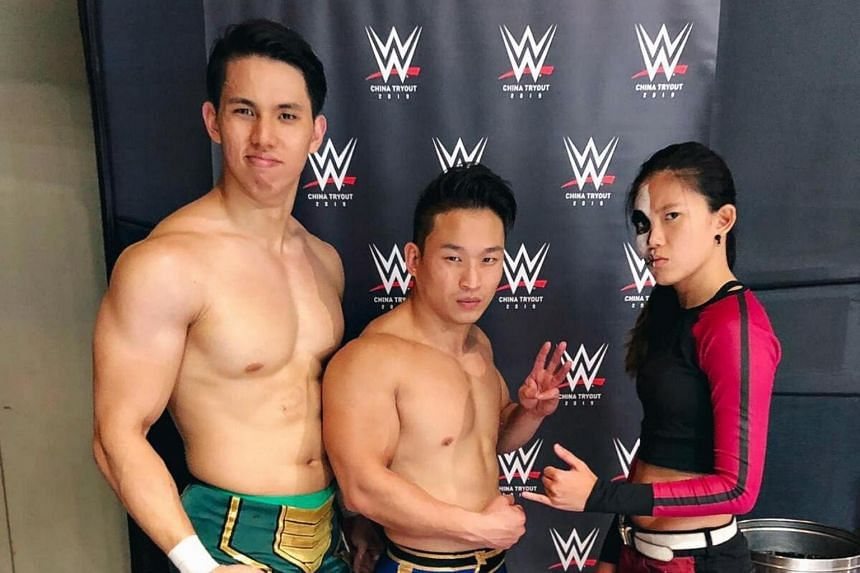 "(From left) Sean ""Trexxus"" Tan, Andruew ""The Statement"" Tang and Alexis Lee were recently in Shanghai to try out for WWE."