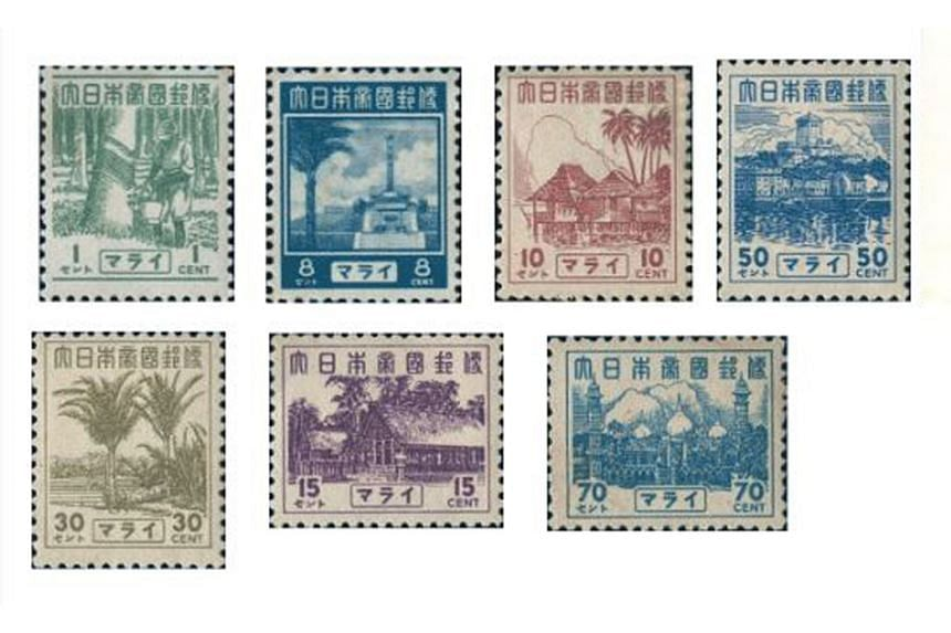 Stamps issued during the Japanese Occupation (above), and in 2013 (left), as Singapore marked its 48th year as an independent nation. PHOTOS: SINGAPORE PHILATELIC MUSEUM