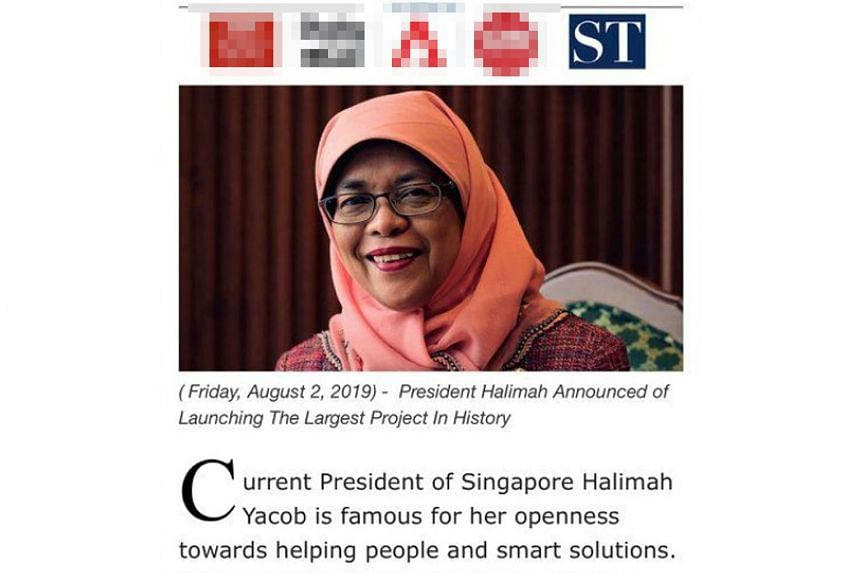 A screengrab of the fraudulent website falsely claiming that President Halimah Yacob had launched a new initiative adopting blockchain technology and a new bitcoin trading system platform. The site doctored an image of one of her Facebook posts to gi