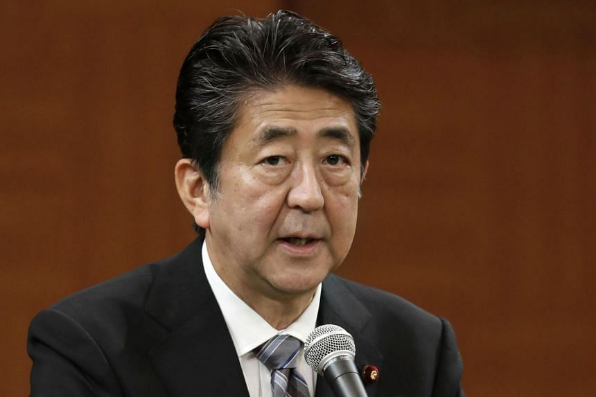 Shinzo Abe speaks during a press conference in Hiroshima, western Japan.