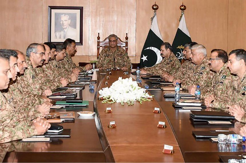 General Qamar Javed Bajwa (centre) and other top commanders from the Pakistan military met in the garrison city of Rawalpindi to discuss the move by India, which is also set to exacerbate the long-running bloody rebellion in Kashmir.