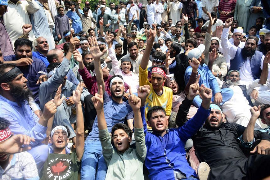 An estimated 500 people demonstrated in Muzaffarabad, the largest city in Pakistani-held Kashmir, on August 6, 2019.