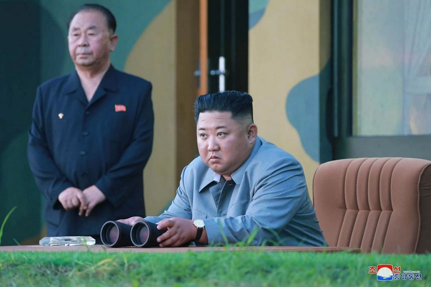 Mr Kim Jong Un oversees the launch of a new-type tactical guided weapon in North Korea.