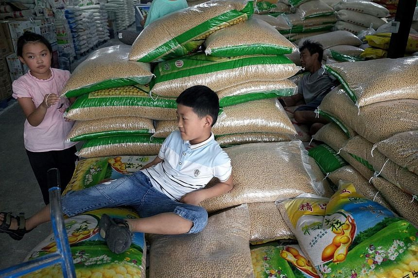 """Bags of soya bean at a grain wholesale market in Beijing. Chinese firms have stopped buying US agricultural products, and American Farm Bureau Federation president Zippy Duvall called the announcement """"a body blow to thousands of farmers and ranchers"""