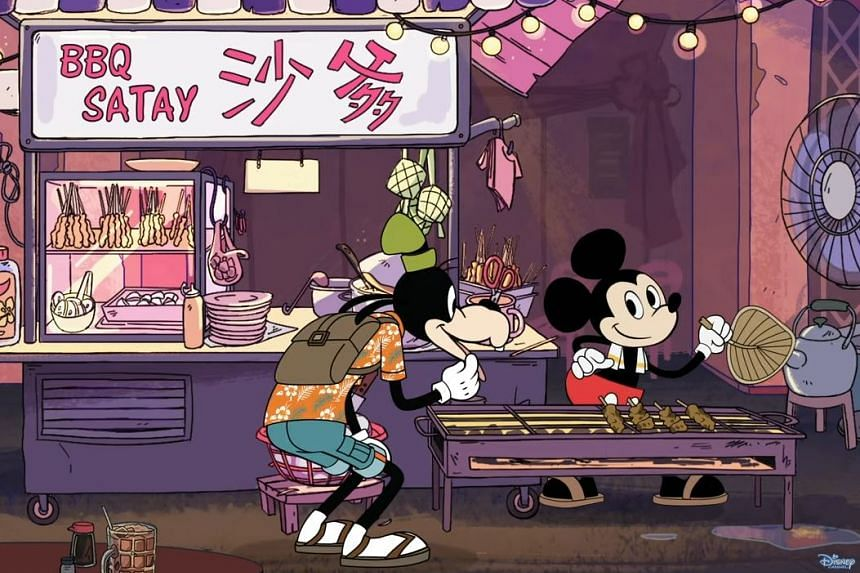 The first short shows Goofy deliberating on whether to sample Donald Duck's creation or Mickey Mouse's satay.
