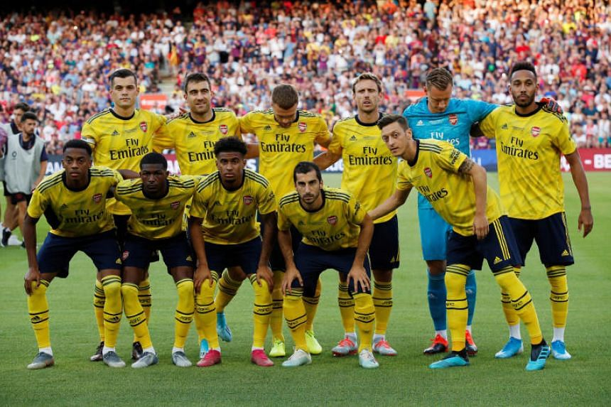 Arsenal players before their friendly against Barcelona at Camp Nou on Aug 4, 2019.